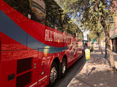 PHOENIX, AZ, USA - DECEMBER 14, 2017:  Charter and school buses closely parked for a special event in city downtowm Editorial