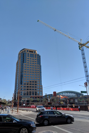 PHOENIX, AZ - FEBRUARY 6, 2018: New construction site between Bank of America tower and Chase Baseball Field, growing downtown of Arizona capital city
