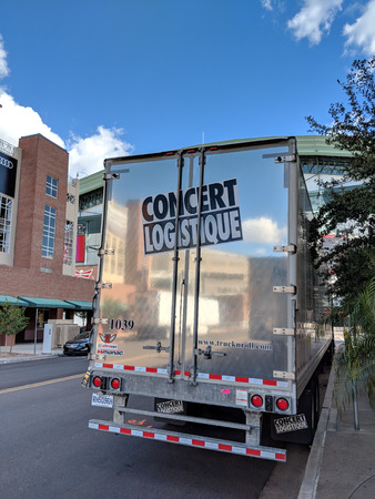 Phoenix, AZ, USA - FEBRUARY 28, 2018: Concert Logistique truck trailer from Canadian city of Quebec parked near Talking Stick Resort Arena along Jackson street after delivering props for a next show in Phoenix, Arizona