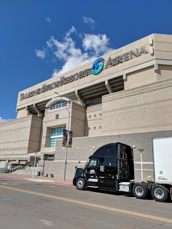Phoenix, AZ, USA - FEBRUARY 28, 2018: Concert Logistique truck from Canadian city of Quebec parked near Talking Stick Resort Arena along Jackson street after delivering props for a next show in Phoenix, Arizona Publikacyjne