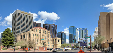 PHOENIX, AZ, USA - FEBRUARY 28, 2018: Jefferson Street going East at at Cesar Chavez Memorial Plaza overshadowed by modern skyscrapers in historic downtown area of major Arizona city of Phoenix. Publikacyjne