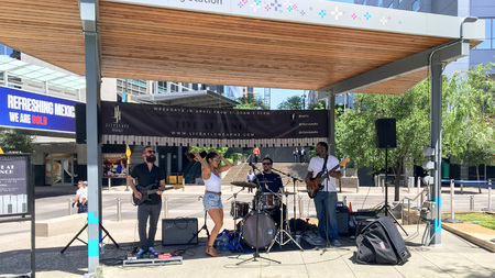 PHOENIX, AZ, USA - APRIL 24, 2018: All April long open air free live concerts in city downtown improvised stage at lunch time, CityScape promotion