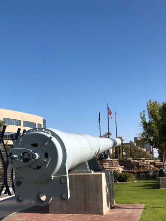 PHOENIX, AZ, USA - DECEMBER 15, 2017: World War II restored massive 16-inch gun barrel from USS Missouri at Wesley Bolin Memorial Plaza in Phoenix downtown, Arizona