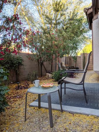 Outdoor breakfast in Arizona desert style xeriscaped backyard with crisp fresh air in early Spring morning Zdjęcie Seryjne - 102848162