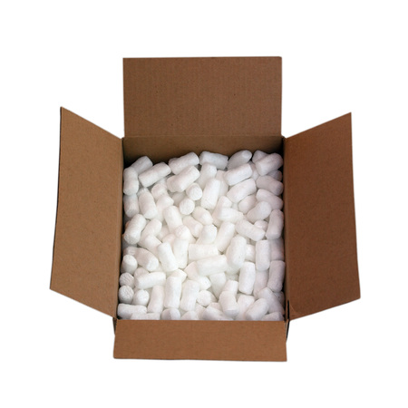 Cardboard shipping box filled with packing styrofoam peanuts, isolated on white Zdjęcie Seryjne - 104585302