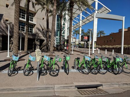 PHOENIX, AZ - JANUARY 22, 2019: Quick bicycle rental stand in Phoenix downtown next to Talking Stick Resort Arena