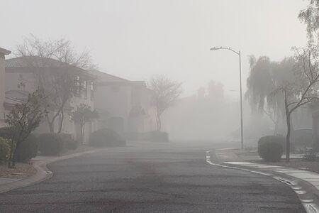 Winter foggy morning in residential housing community, Phoenix, AZ