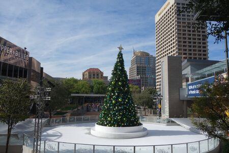 PHOENIX, AZ - DECEMBER 12, 2019: Traditional Christmas tree at Phoenix downtown scatting rink