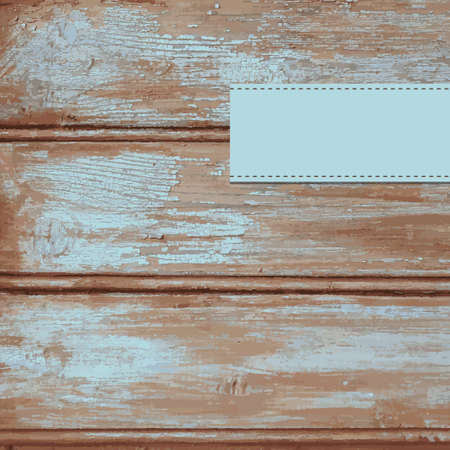 paint peeling: Wooden background with old blue peeling paint and blank label Illustration