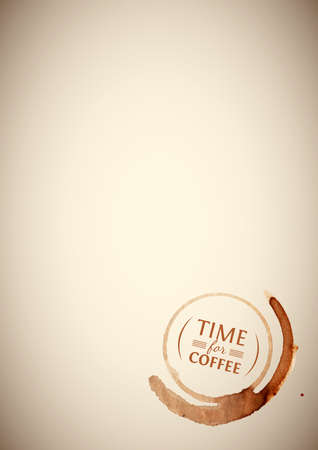 Vintage sheet of paper with coffee stain with inscription Time for coffee inside Vector