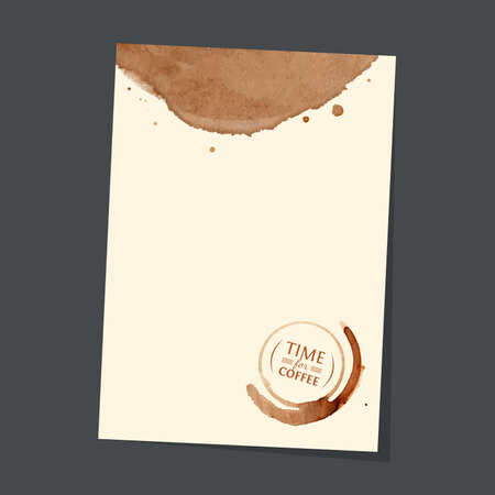 Letterhead template with coffee stain with inscription Time for coffee inside on the gray background Vector