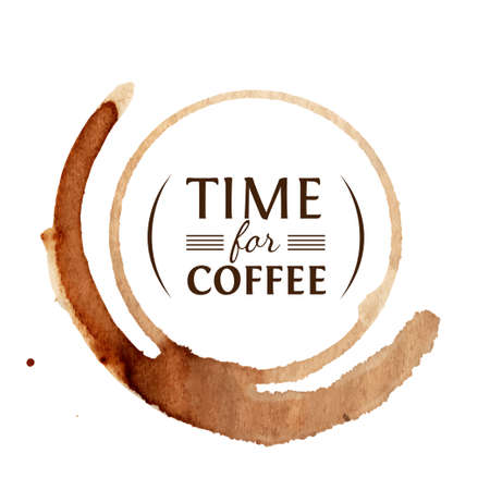 Vector round coffee stain with inscription Time for coffee inside Illustration