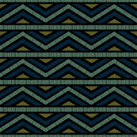 Embroidered ethnic seamless pattern. Vettoriali