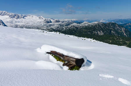 Snowy landscape - the view to the Dachstein top from the hiking track to Krippenstein and Five Fingers viewpoint