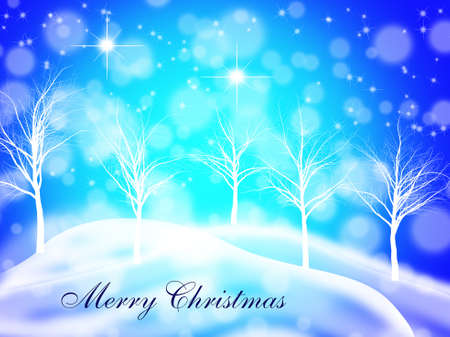 Winter Christmas background with stylished barren trees sifting snow and snow capped hills on a dark blue background with a caption Stock Photo