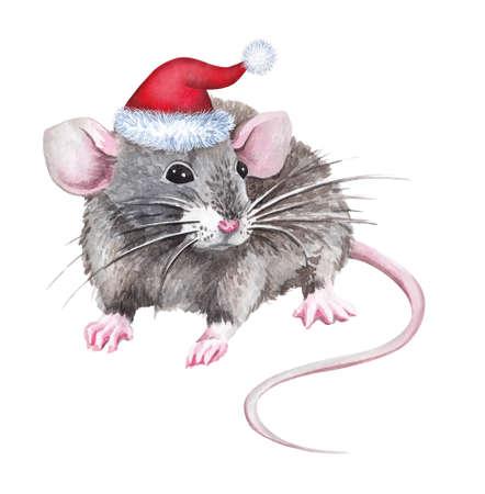 Cute cartoon christmas rat (mouse). Watercolor illustration.