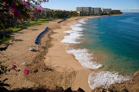 Looking down on Kaanapali Beach, Maui, Hawaii