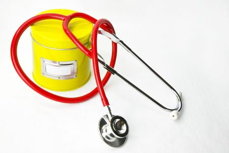 Secret Ingredient for Good Health: Red stethoscope, yellow ingredient can with label for text, on white background. Lots of room for copy, plus you can insert  text in label area.
