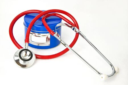 Secret Ingredient for Good Health: Red stethoscope, blue ingredient can with label for text on white background. Lots of room for copy, plus you can insert  text in label area