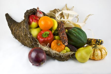 Horn of Plenty with fruits and vegetables spilling forth