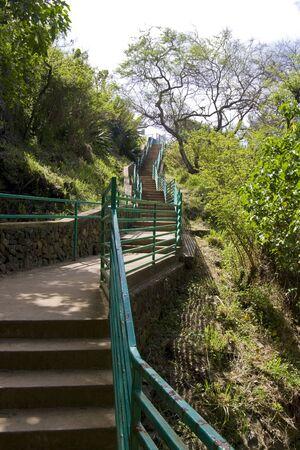 Long steep staircase at beach park Stock Photo