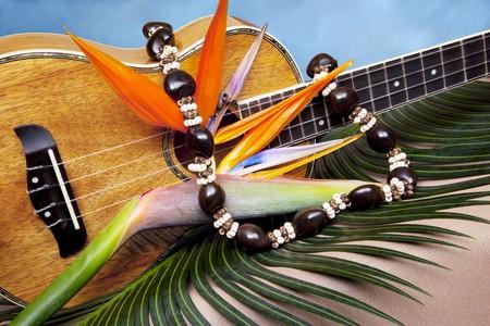 Still life of Hawaiian koa wood ukulele, with fresh bird of paradise flower and kukuinut lei, on blue backgound Stock Photo