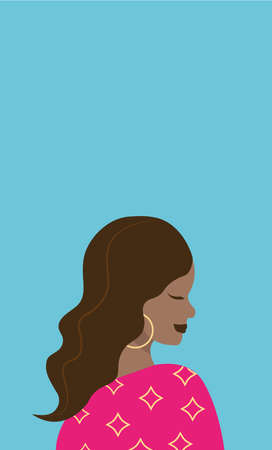 Vector portrait of a beautiful afroamerican girl