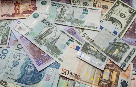 Dollar, euro, Polish zloty money, Ukrainian money, money Russian rouble  photo