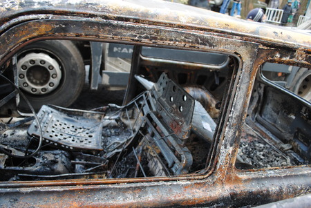 burnt out: burnt out the car in city