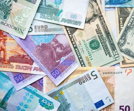 hryvna: banknotes of different countries are, dollar, zloty, rubel, euro, hryvna