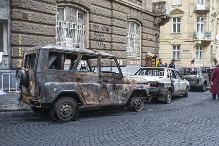 Off-road wreck, car UAZ in city