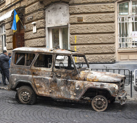 Wreck all-terrain vehicle, UAZ in city