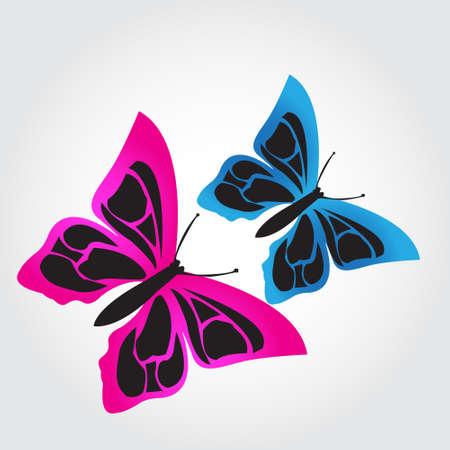 butterfly background: Illustration Butterflys on grey background