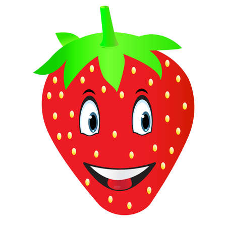 Illustration a strawberry cartoon on a white background
