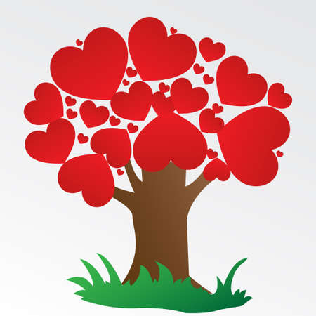 Illustratioon a tree love on a grey background