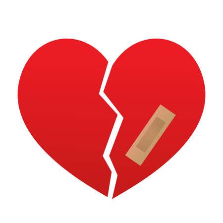 Illustration broken heart on white background