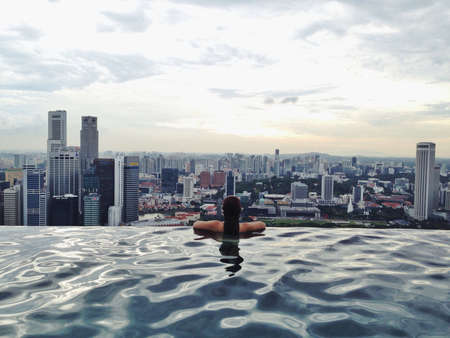infinity pool: Scenic view from Marina Bay Sands Singapore rooftop infinity pool