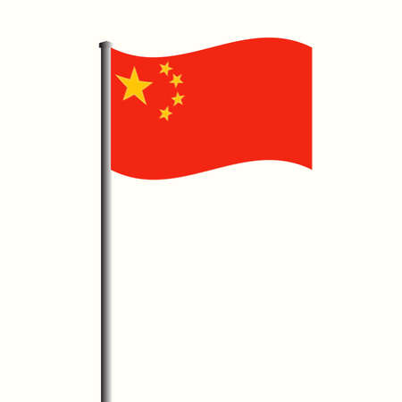 Waving Chinese Flag at High Mast. Vector Illustration. 向量圖像