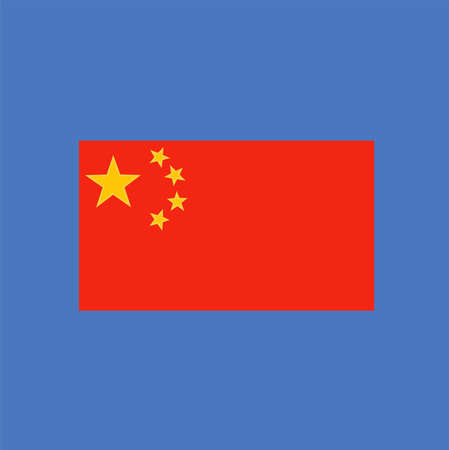 Chinese Flag Against Blue Background. Flat Design
