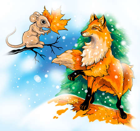 Mouse and fox in dialogue, executed as an illustration to a childrens book.