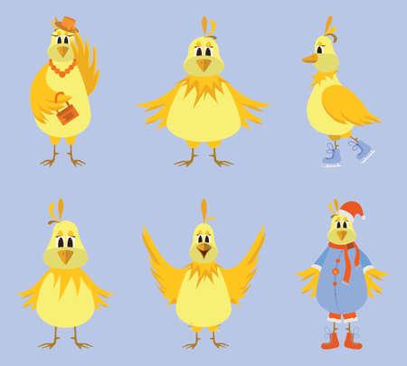 yellowing: Cute cartoon yellow birds. Vector illustration. Illustration