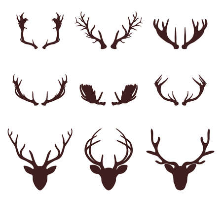 horny: Deer head silhouette with antlers, vector illustration