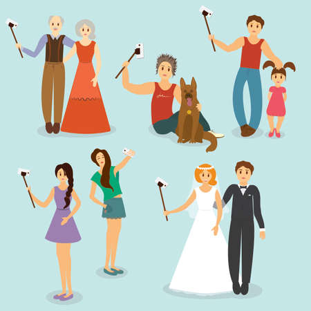 older couple: Set of older people, the guy with the dog, father and daughter, girlfriend and the couple making selfie - vector illustration Illustration