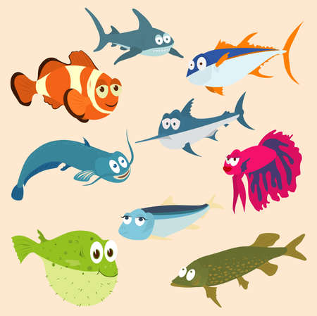 sea creatures: Vector illustration of set of sea creatures Illustration