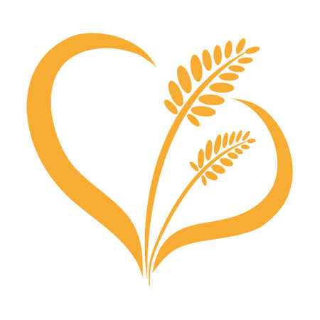 Ears of wheat isolated heart on a white background.