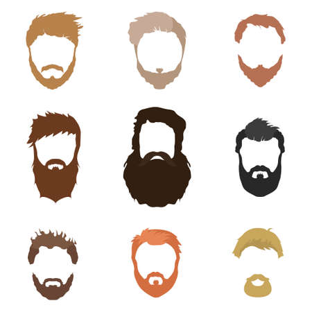 Hair, beard and face, hair, cut-out mask flat cartoon collections. male hairstyles, illustrations, beards and hair. Flat hair and beard style hair fashion. Hairstyles icons isolated hairstyles for white background isolated.  イラスト・ベクター素材