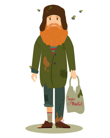Homeless. Shaggy man in dirty rags, with flies and with a package in his hand. Vector illustration isolated on white background. Ilustração