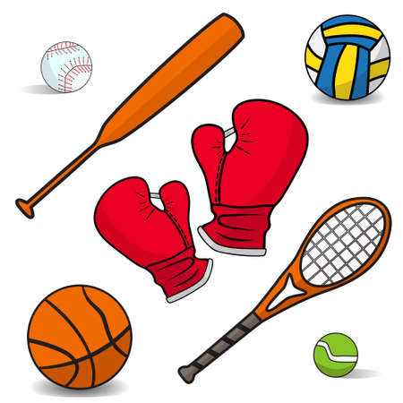 boxing gloves: Volleyball, boxing gloves, a basketball, bat, racket, badminton. Set of simple icons flat sports equipment with the effect of shadows on a white background. Vector illustration.