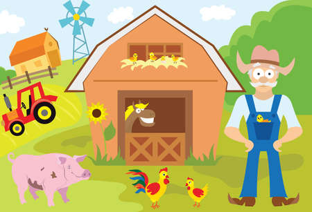 Big set of cartoon characters and elements of the farm. Buildings, farmer, livestock, animals, cars, trees. On an isolated white background.