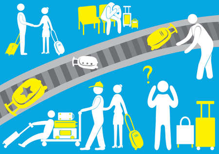 passengers: The airport, the pilot, an immigrant, a tourist visitor, passengers, baggage, flight, icon, family. On a blue background.